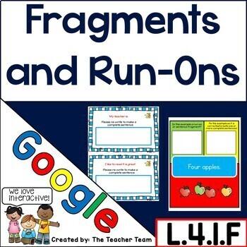 Fragments and Run-on Sentences Interactive Notebook Google Drive Activities