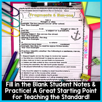 Fragments and Run-on Sentences Week Long Lessons! Common Core Aligned