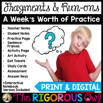 Fragments, Run-ons and Sentences! A Week's Worth of Practice!