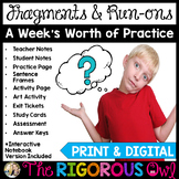 Fragments, Run-ons and Sentences Lesson with A Week's Wort