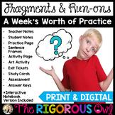 Fragments, Run-ons & Sentences Lesson & Practice | Print & Digital |