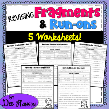 Fragments and Run ons 5 Worksheets by Deb Hanson   TpT