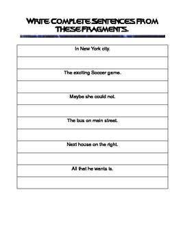 Fragments vs. Complete sentences