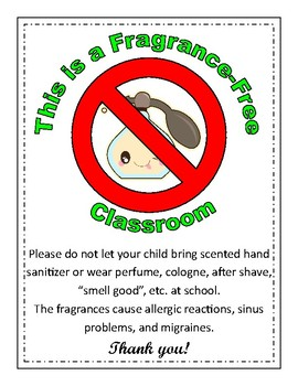 Fragrance Free Classroom Sign By Mary Rosenberg Tpt