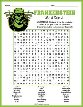 Frankenstein Word Search Puzzle