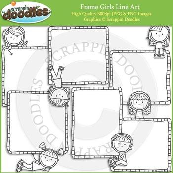 Frame Boys & Frame Girls Clip Art and Line Art Bundle