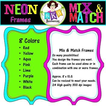 Frame Clip Art - Neon Mix & Match Frames Set 1