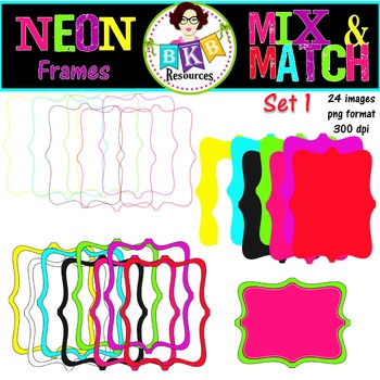 Frame Clip Art - Neon Mix & Match Frames Set 1