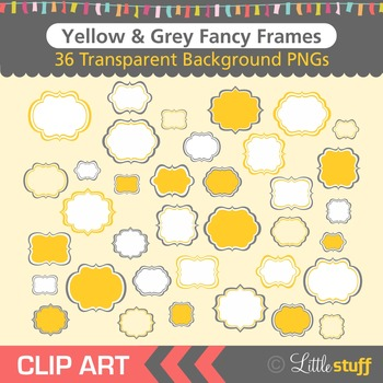 Frame Clipart, Yellow and Grey Frames Clip Art
