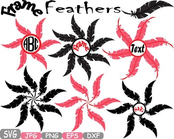 Frame Feathers clipart svg circle Word Art t-shirt design Valentines props -308s