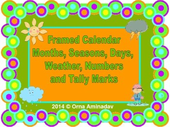Framed Calendar Months, Seasons, Days, Numbers and Tally Marks