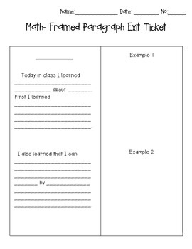 Framed Paragraph Math Exit Ticket