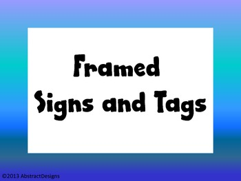 Framed Signs & Tags
