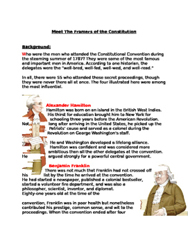 Framers of the Consitution: Role Playing/ Reseaqrch Assignment: