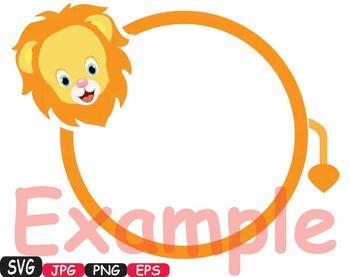 Frames Animal Safari Chalk board SVG Chalkboard clip art school lion tiger -416s