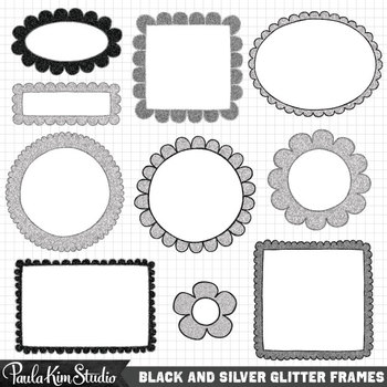 Frames - Black and Silver Glitter