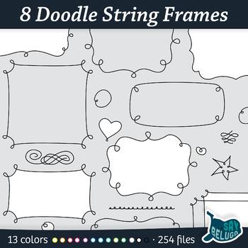 Doodle String Frames & Borders Black – Clip Art