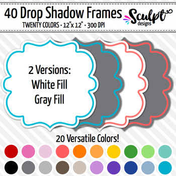 Frames ~ Bracket Frames with Drop Shadows ~ Twenty Colors
