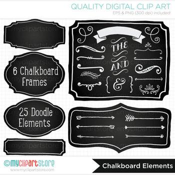 Frames - Chalkboard / Hand Drawn Frames & Doodle Elements