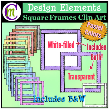 Square Frames Clip Art Pastel