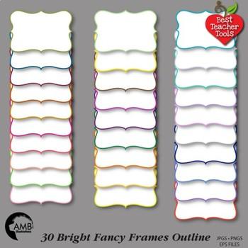 Frames Clipart, 30 Outline Color Frames {Best Teacher Tool