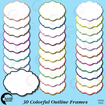 Frames Clipart, 30 Outline Color Frames {Best Teacher Tools} AMB-1852