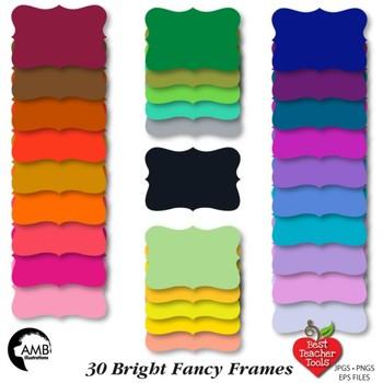 Frames Clipart, 30 Solid Color Frames {Best Teacher Tools}