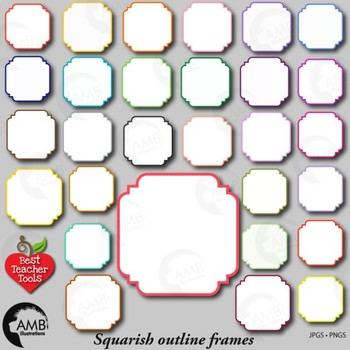 Frames Clipart, 30 Square Outline Color Frames {Best Teacher Tools} AMB-1850
