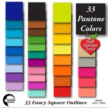 Frames Clipart, 33 Color Fancy Square Labels {Best Teacher Tools} AMB-1909