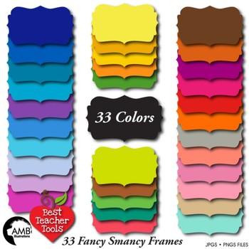 Frames Clipart, 33 Solid Color Fancy Frames {Best Teacher Tools} AMB-1906