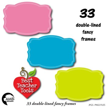 Frames Clipart, 33 Solid Color Fancy Frames {Best Teacher Tools} AMB-1913
