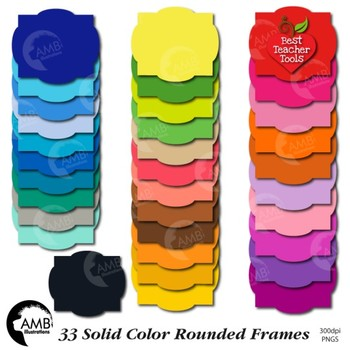 Frames Clipart, 33 Solid Color Rounded Frames {Best Teacher Tools} AMB-1854