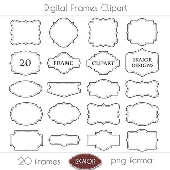 Frames Clipart Borders Clip Art Labels Tags Dotted Stitched Scrapbooking Digital