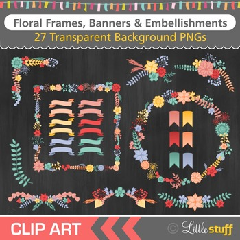 Frames Clipart, Floral Frames Clip Art, Floral Clips, Banner Graphics, Ribbons
