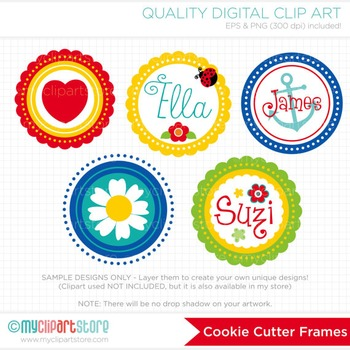 Frames - Cookie Cutter / Scalloped Frames / Round Frames / Primary Colors