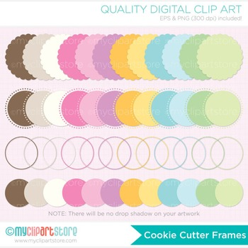 Frames - Cookie Cutter / Scalloped Frames / Round Frames / Rainbow Pastel