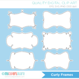 Curly Frames Clipart, Doodle Frames, Labels, layered to create your own!