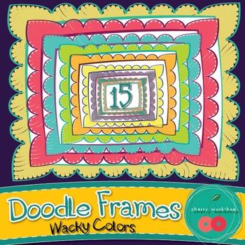 Frames - Cute Doodle Frames - Wacky Colors {Commercial Use}