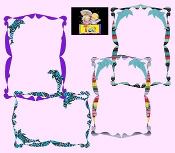Summer - Frames - Dolphin - Clip Art - Personal or Commercial Use