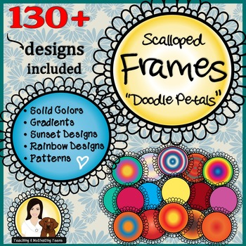 Frames - Doodle Circles in 130 Designs and Many Colors, Commercial Use Clip Art