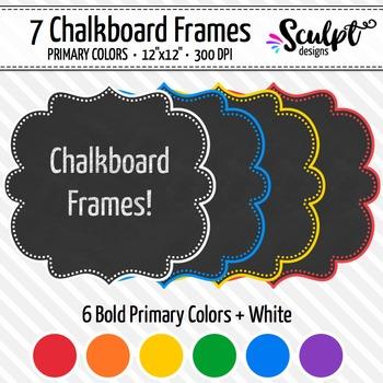 Frames ~ Dotted Chalkboard Frames ~ Bold Primary Colors