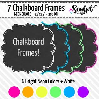 Frames ~ Dotted Chalkboard Frames ~ Neon Colors