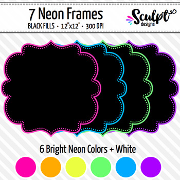 Dotted Frames ~ Neon Colors with Black Fill
