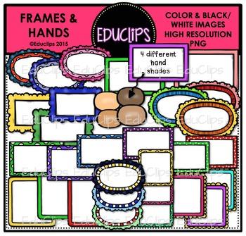 Frames & Hands Clip Art Bundle {Educlips Clipart}
