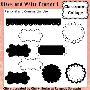 Frames and Labels Set 1 - Black and White - pers/comm use