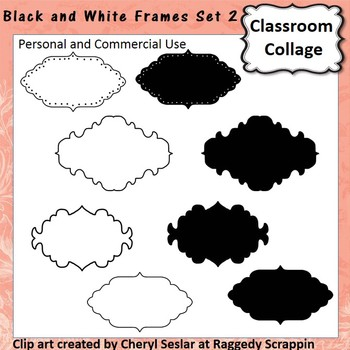 Frames and Labels Set 2 - Black and White - clip art pers/
