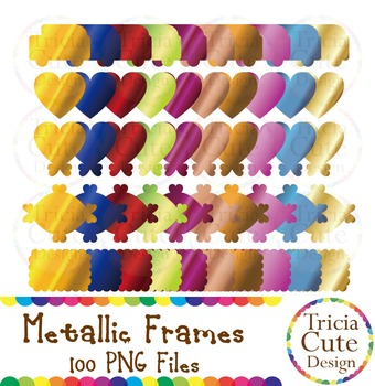 Frames - Metallic Frame Label Tag, Gold Shiny Gradient