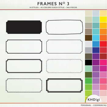 Frames No 3 Collection - 8 Styles, 45 Colors Each Style, 360 pieces