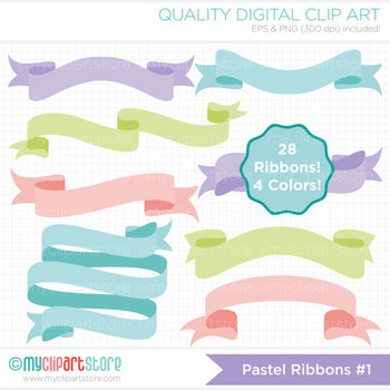 Frames - Ribbon Banners - Pastel colors