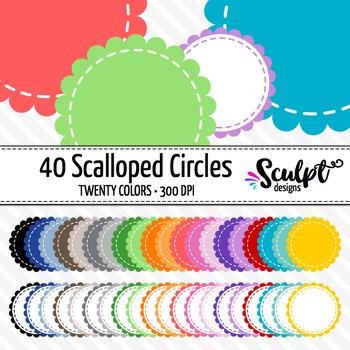 Frames ~ Scalloped Circles ~ Twenty Colors